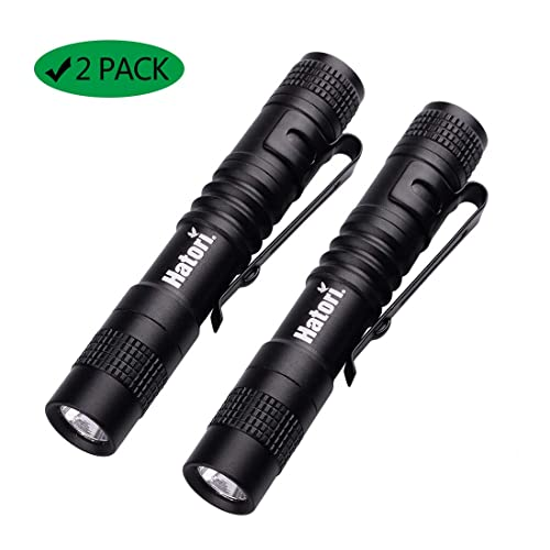 Mini Aluminum LED Flashlight with Clip Camping Pack of 2 Ultra Bright Water Resistant Handheld Flashlight Keychain Flashlight for Hiking 3 Light Modes Fishing and Indoor Outdoor Use Black