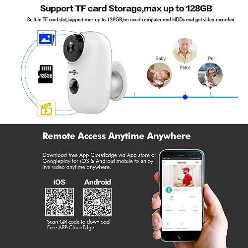 Buy [32GB Preinstalled] Battery Powered Security Camera,Hiseeu 720P