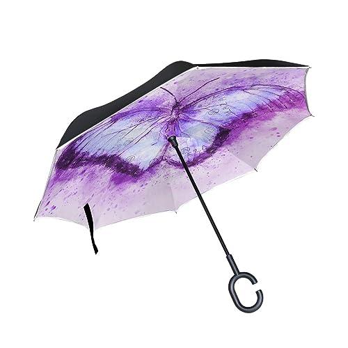 JOJOs Bizarre Adventure Car Reverse Umbrella Windproof And Rainproof Double Folding Inverted Umbrella With C-Shaped Handle UV Protection Inverted Folding Umbrellas