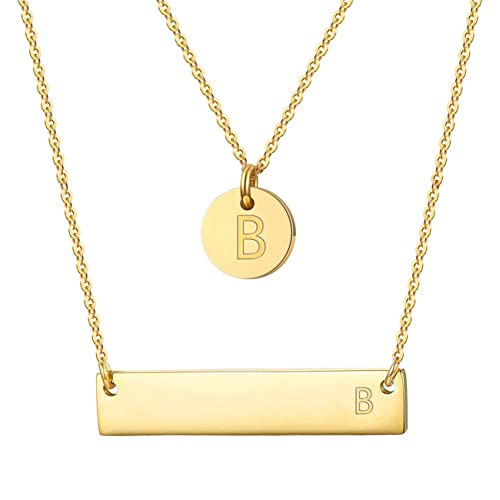 d25ba320c Shinity 2pcs Initial Necklace Stainless Steel 14K Gold Plated Tiny Disc Bar Pendant  Letter Layered Choker