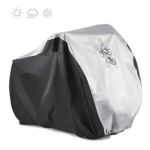 XL Waterproof Outdoor Bicycle Cover Oxford Fabric Storage Rain Sun UV Dust Wind Proof Motorcycle Covers for Mountain Road Electric Bike Tricycle Cruiser GES Bike Cover for 2 or 3 Bikes