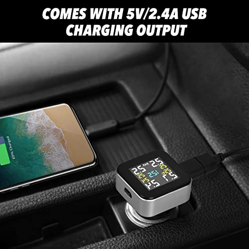 0-6.0 BAR//0-87 PSI Tymate TPMS Wireless Tire Pressure Monitoring System with 4pcs External Sensors and 2.1A USB Charging Port Temperature and Alarm Function Real-time Displays 4 Tires/' Pressure Real-time Displays 4 Tires Pressure