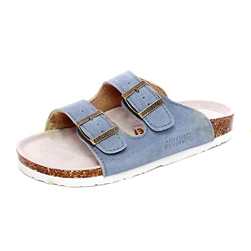 Flip-Flops Ring Open Toe Slide Cork Footbed for Teenagers//Girls Mayari Leather Sandals,Adjustable Flat Casual Slippers for Women /& Ladies