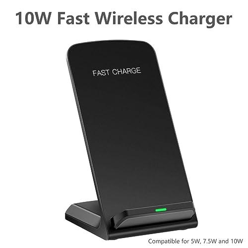 ROFI Wireless Charger Qi Certified Fast Wireless Charging 10W Wireless Charging Stand for Galaxy S7//S8//S8//S9//Note8 7.5W Fast Wireless Charging Pad for iPhone X//8//8 Plus