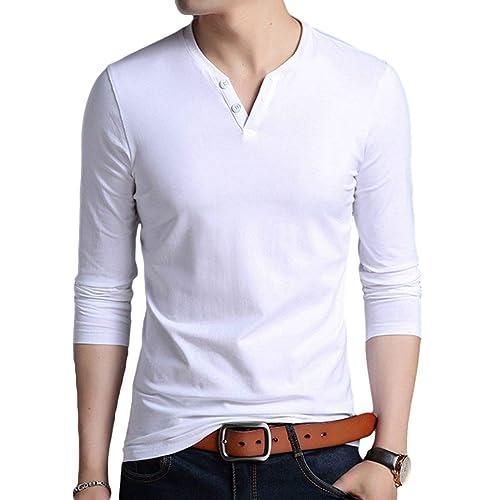 6ecd5a867302 Buy KUYIGO Men's Casual Slim Fit Long Sleeve Henley T-Shirts Cotton ...