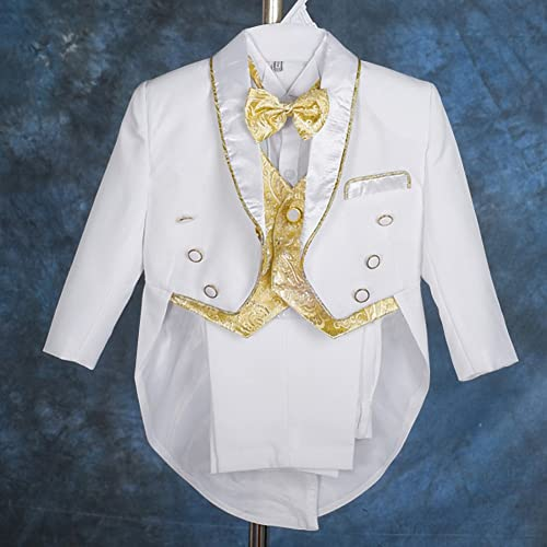 Virgin Embroidered Tuxedo Baptismal Suit CALDORE USA Boy White Tail Paisley Design Christening Outfit
