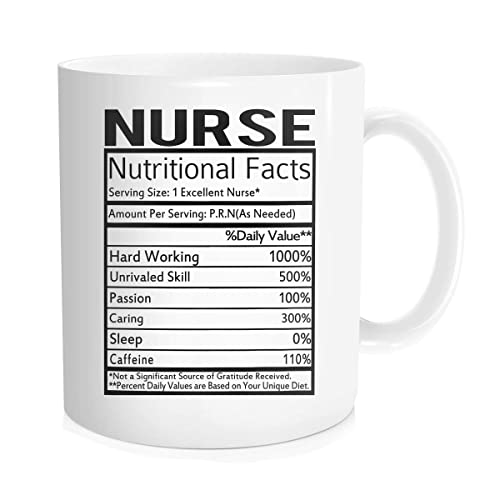9ff5ad2a Hasdon-Hill Nurse Nutritional Facts Label Mug, Funny Nursing Student RN  Coffee Cup,