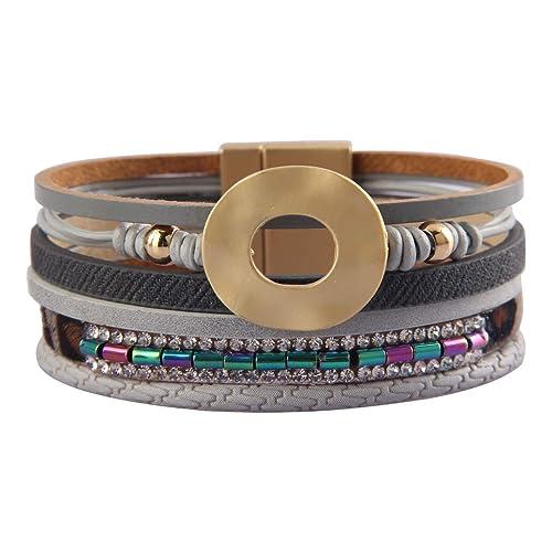 fcfe98069f5 Jenia Women Leather Cuff Bracelet Multi Strand Wrap Around Bracelets Charm  Heart Boho Bangle Handmade Jewelry