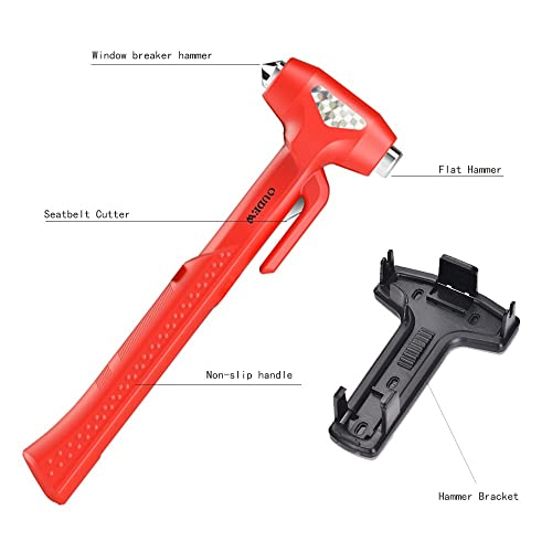 Window Breaker OUDEW Escape Tool Self-Rescue Tools 2 pcs Emergency Supplies Multi-Function Glass Breaker Car Safety Hammer Orange
