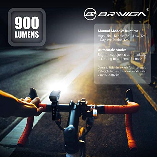 BRIVIGA USB Rechargeable Bike Light Set Rubber Strap Mount 900 Lumens LED Bicycle Light Front /& Rear Tail Light Flashlight for Cycling Safety Rear Bike Light 2600Mah Waterproof Bike Headlight