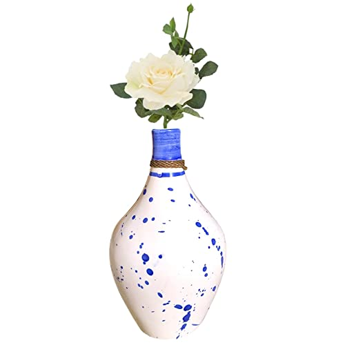 Living Room STAR MOON Ceramic Flower Vase with Retro Grid for Modern Floral Vase for Home Decor Blue Petal Centerpieces and Events