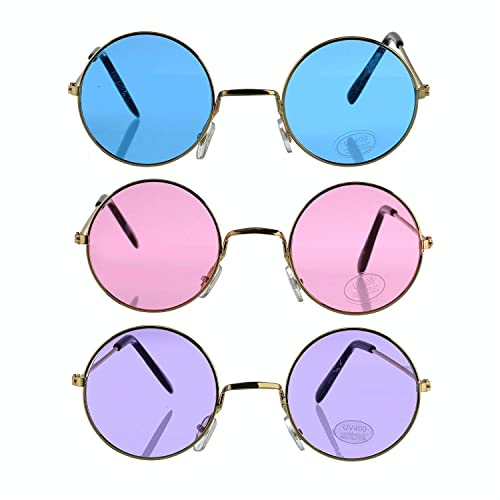 165840cc97f5 Round Retro Hippie Fashion John Lennon Style Rimless Sunglasses (Great  Cruise Costume Accessory)