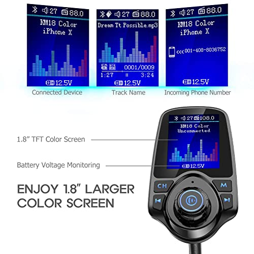 Supports Music Streaming Hands Free Call Nulaxy USB-C Bluetooth FM Transmitter for Car Power Delivery 3.0 Car Audio Adapter with Type C /&5V//2.4A USB-A Charger AUX in//Out- KM18PRO microSD Card