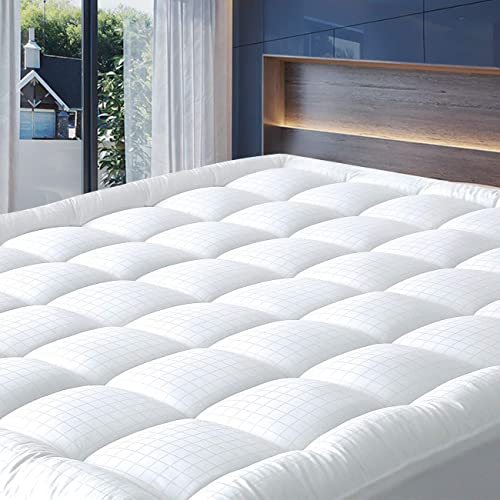 Silky Cotton Tencel Cover,Oeko-TEX Certified TXL Stretch-up-to 22 Fitted Tencel Polyester Fill Stretch-up-to 22 Allrange 300TC Cool Tencel Hypoallergenic Quilted Mattress Pad