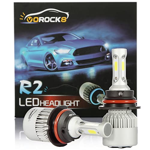 vorock8 r2 cob 9007 hb5 8000 lumen ledelys konverteringssett, fjernlyslykt,  dobbeltlyslys, halogen hodelysbytte, 6500k xenon hvit, 1 par