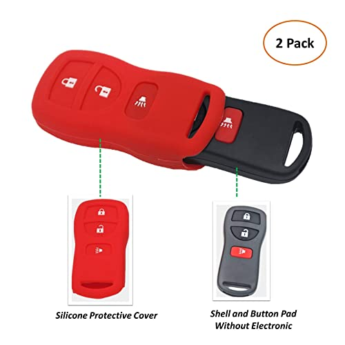 SEGADEN Silicone Cover Protector Case Skin Jacket fit for NISSAN 3 Button Remote Key Fob CV2507 Black