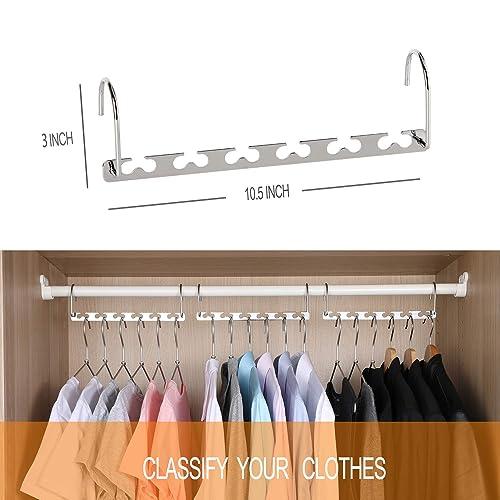 4 PCS LEISIWEI Clothes Hangers Organizer Metal 6 Slots Multi-Functional Stainless Steel Closet Space Saving Hangers Set Organizers Updated Hook Design