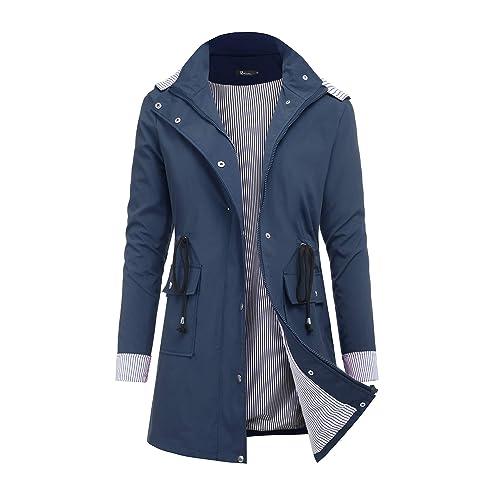 1a430086e RAGEMALL Women's Raincoats Windbreaker Rain Jacket Waterproof Lightweight  Outdoor Hooded Trench Coats