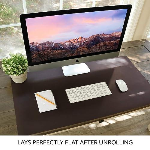 "Leather Desk Pad 24/"" x 17/"" VineCreations Office Desk Mat Blotter Midnight Black"