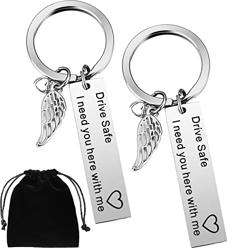 Buy Boao 2 Pack Drive Safe Keychains with Wing Pendant I