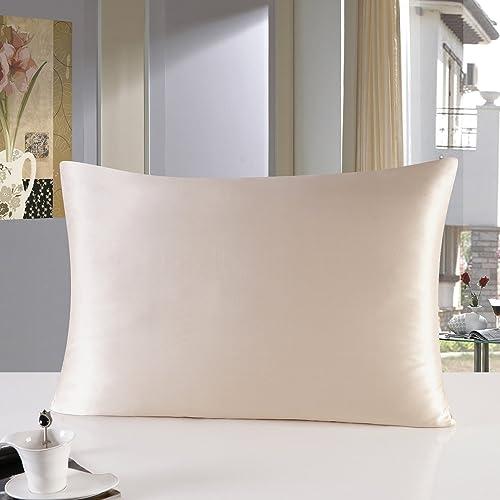 16mm Silk Pillowcase Standard Size Pillow Case Cover with Hidden Zipper Satin Underside Claret Townssilk