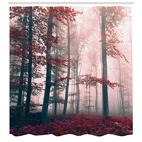 Autumn foggy Forest Landscape Shower Curtain Liner Polyester Waterproof Fabric