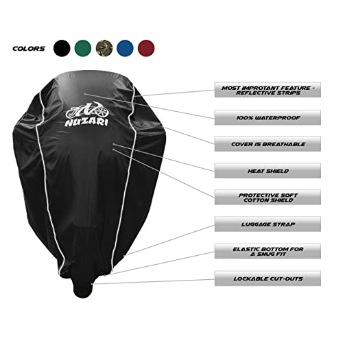Large, Hunter Green Premium Weather Resistant Covers Waterproof Polyester w//Soft Screen /& Heat Resistant Shields.Motorcycle Cover has Lockable fabric Durable /& Long Lasting.Sportbikes /& Cruisers