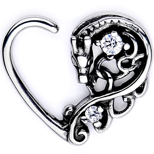 Briana Williams 16G Rook Daith Earrings Stainless Steel Heart Moon Horseshoe Piercing Barbell Conch Helix Piercing Jewelry