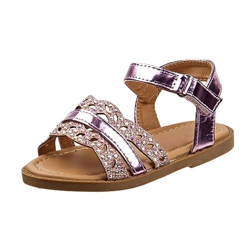 4b42181c9026 Rugged Bear Girls Metallic Stripe & Iridescent Glitter Strap Sandals ( Toddler/Little Kid