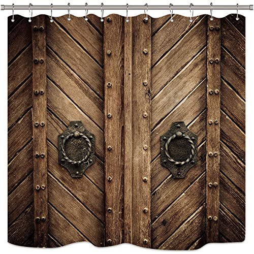 72X72/'/' Rustic Wooden Barn Door Shower Curtain Bathroom Decor Waterproof Fabric