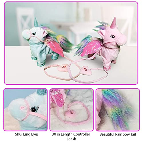 Plush Unicorn Toy Toys for Girls Electric Blue Pet W//BONUS GIFT Walking Singing Unicorns Interactive Sound Animals Stuffed Animal Puppy Baby Girl Gifts for Babies 8 5 18 Toddlers BATTERIES INCLUDED