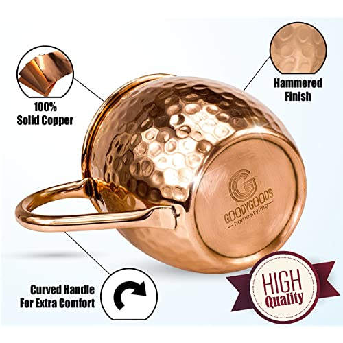 100/% Pure Solid Copper His /& Hers Gift Set- 2 Hammered 16 OZ Copper Cups 2 Unique Straws copper, 16oz Jigger /& Recipe Book! Magnificent Moscow Mule Copper Mugs: Make Any Drink Taste Much Bettter