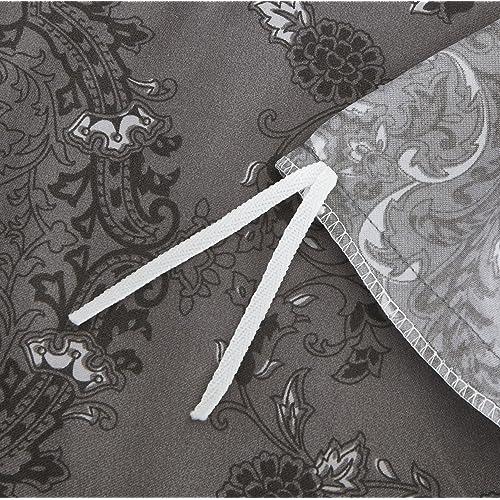 Grey Damask Victorian European Paisley Pattern Queen Dark Gray Duvet Cover Set